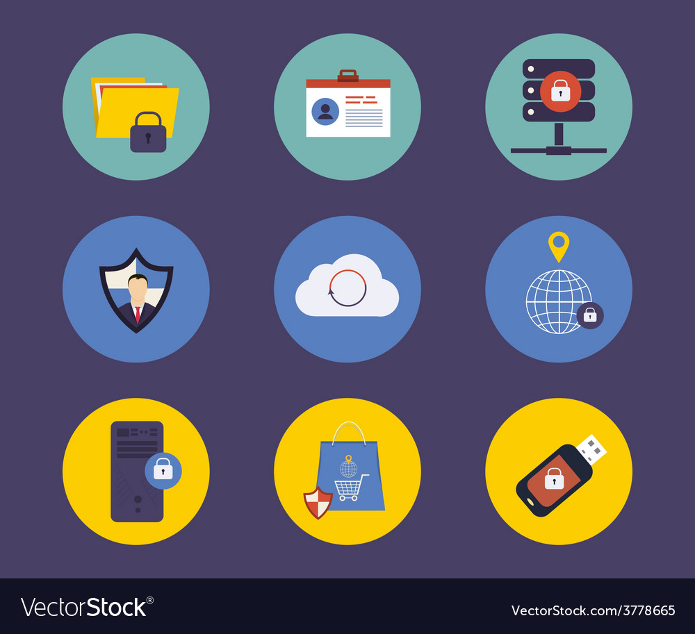 Set of flat design concept icons for technology vector   Price: 1 Credit (USD $1)