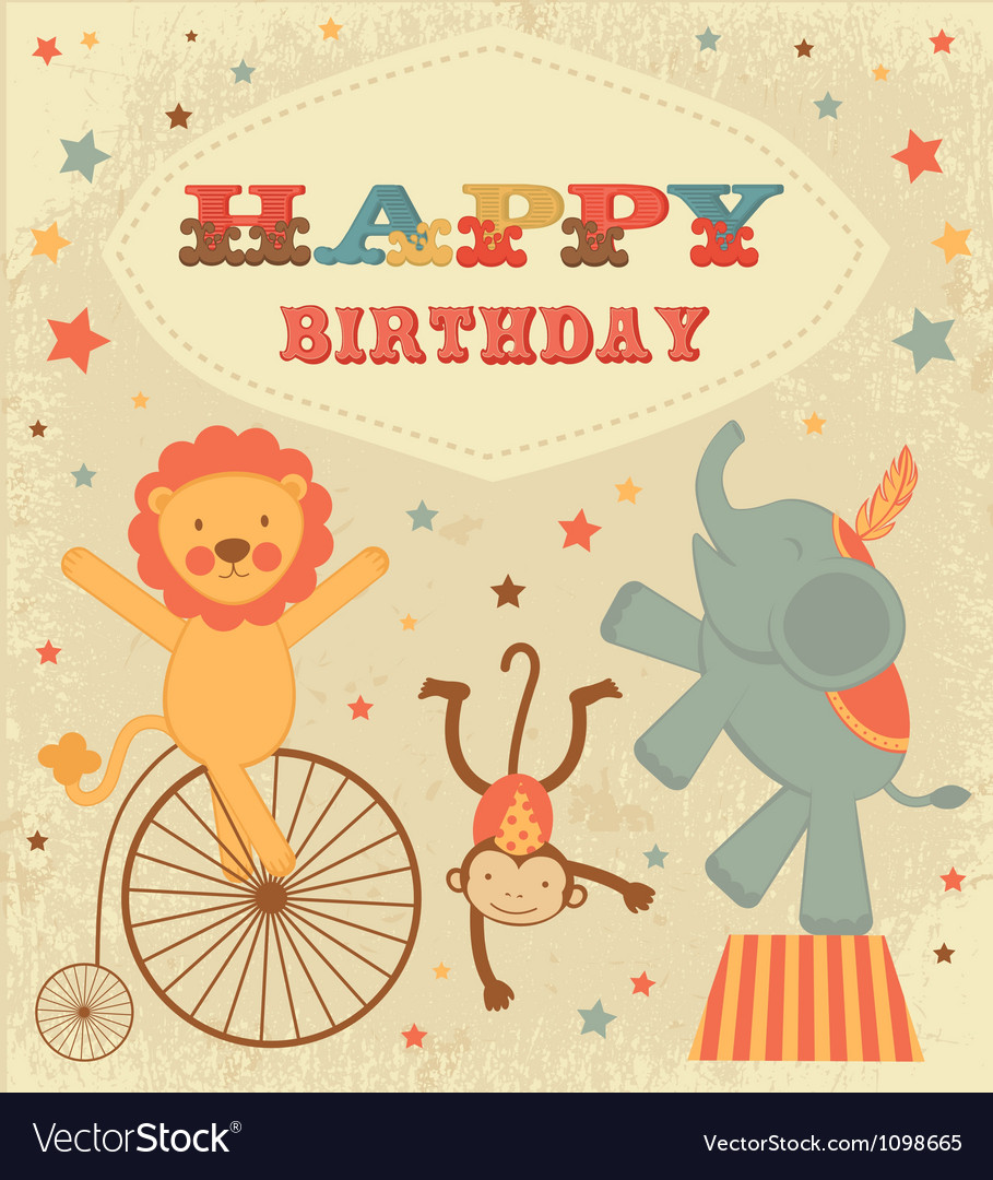 Vintage birthday card vector | Price: 1 Credit (USD $1)