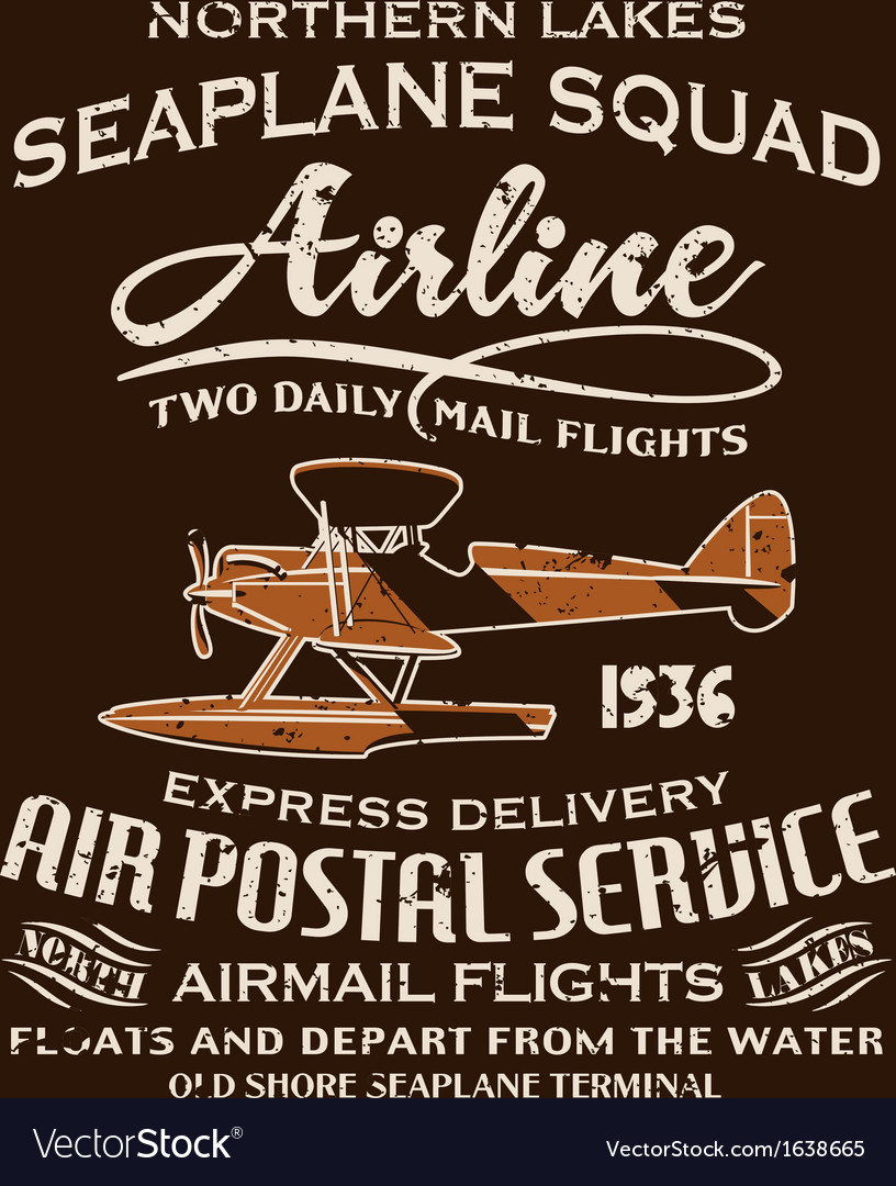 Vintage seaplane airmail service vector | Price: 1 Credit (USD $1)