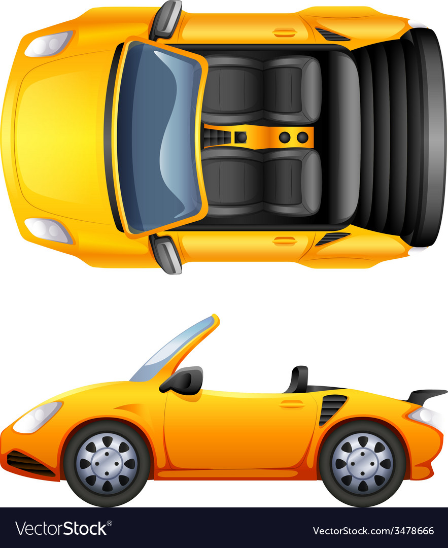 A top and side view of a sports car vector | Price: 3 Credit (USD $3)