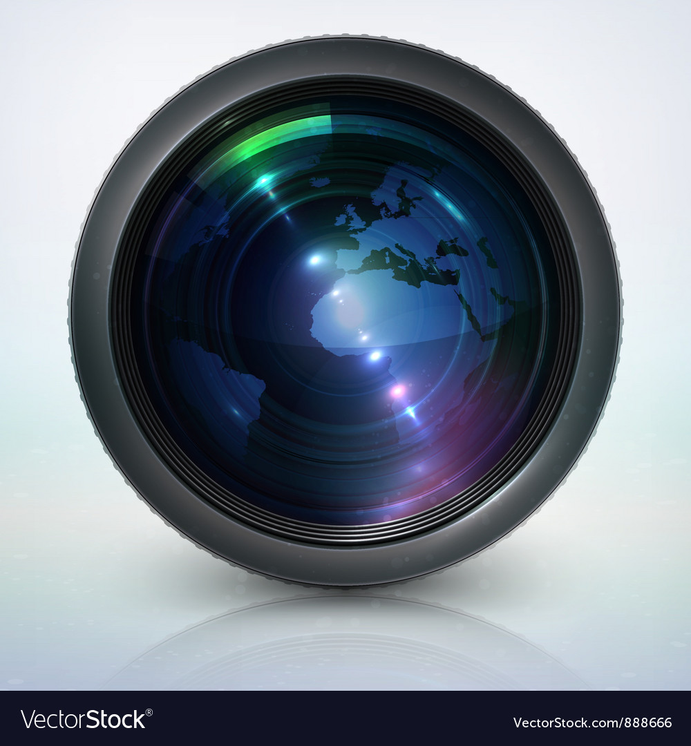 Camera lens with globe vector | Price: 3 Credit (USD $3)