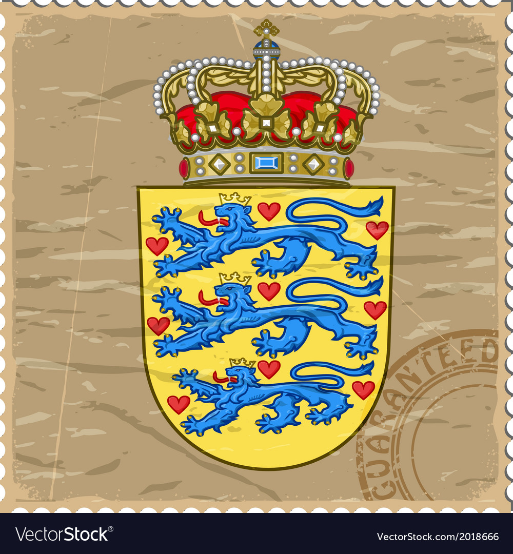 Coat of arms of denmark on the old postage stamp vector | Price: 1 Credit (USD $1)