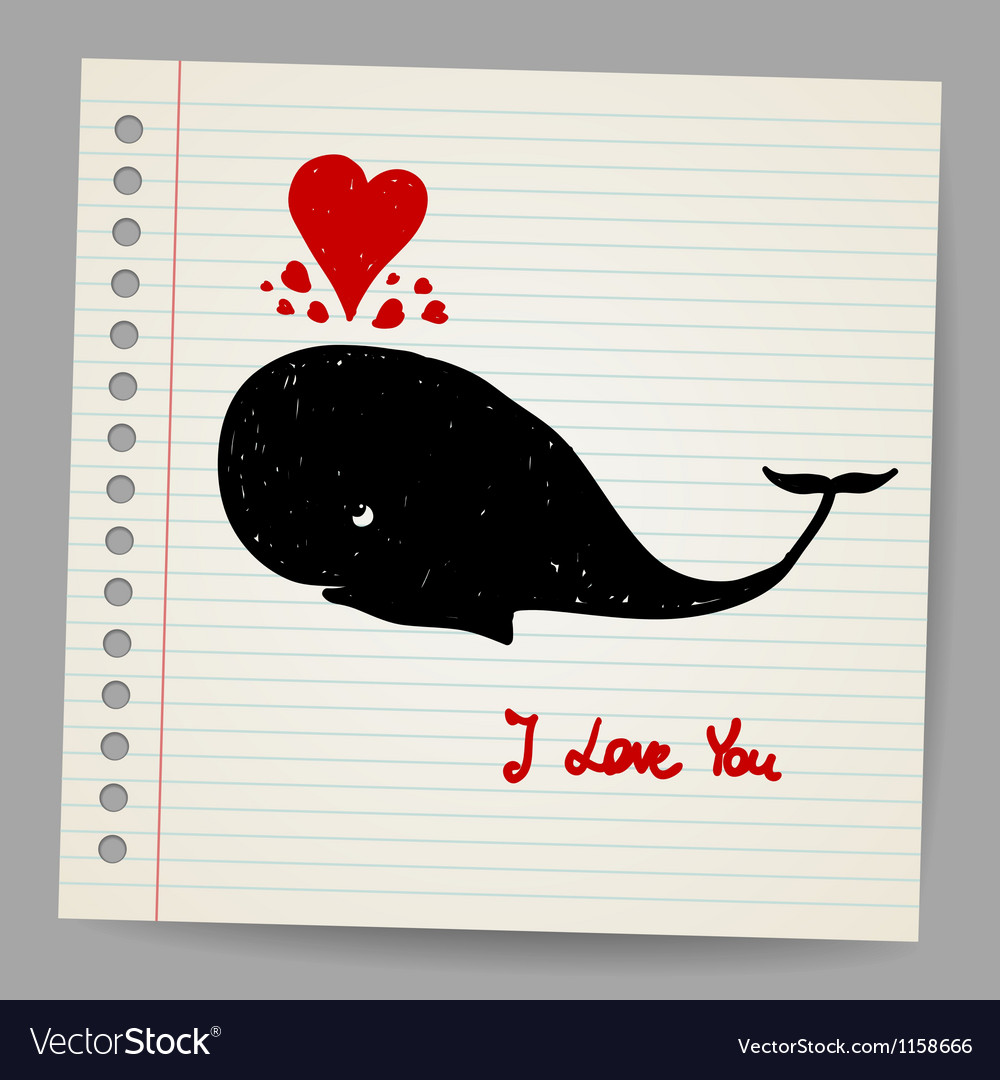 Cute doodle in love whale with hearts vector | Price: 1 Credit (USD $1)