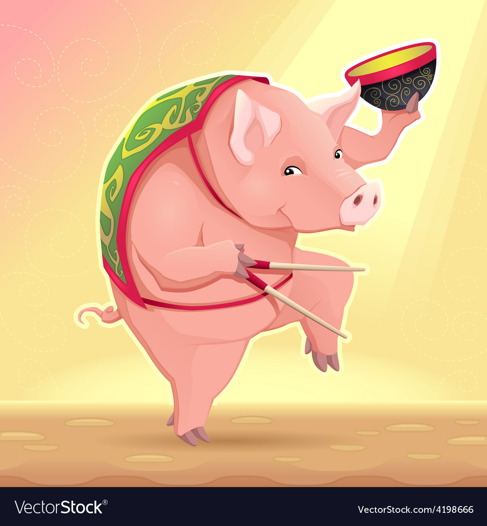 Funny pig with soup bowl and chinese sticks vector | Price: 1 Credit (USD $1)