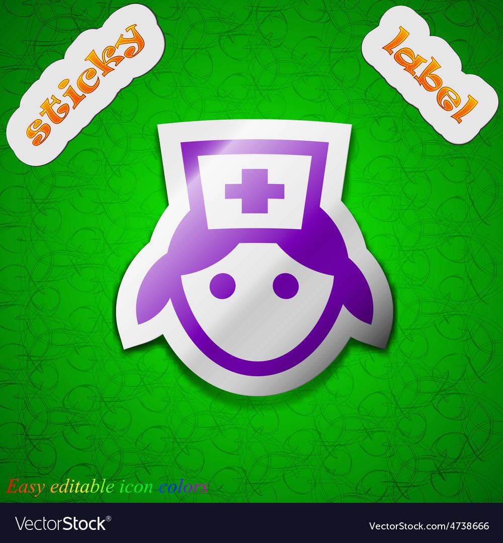 Nurse icon sign symbol chic colored sticky label vector   Price: 1 Credit (USD $1)
