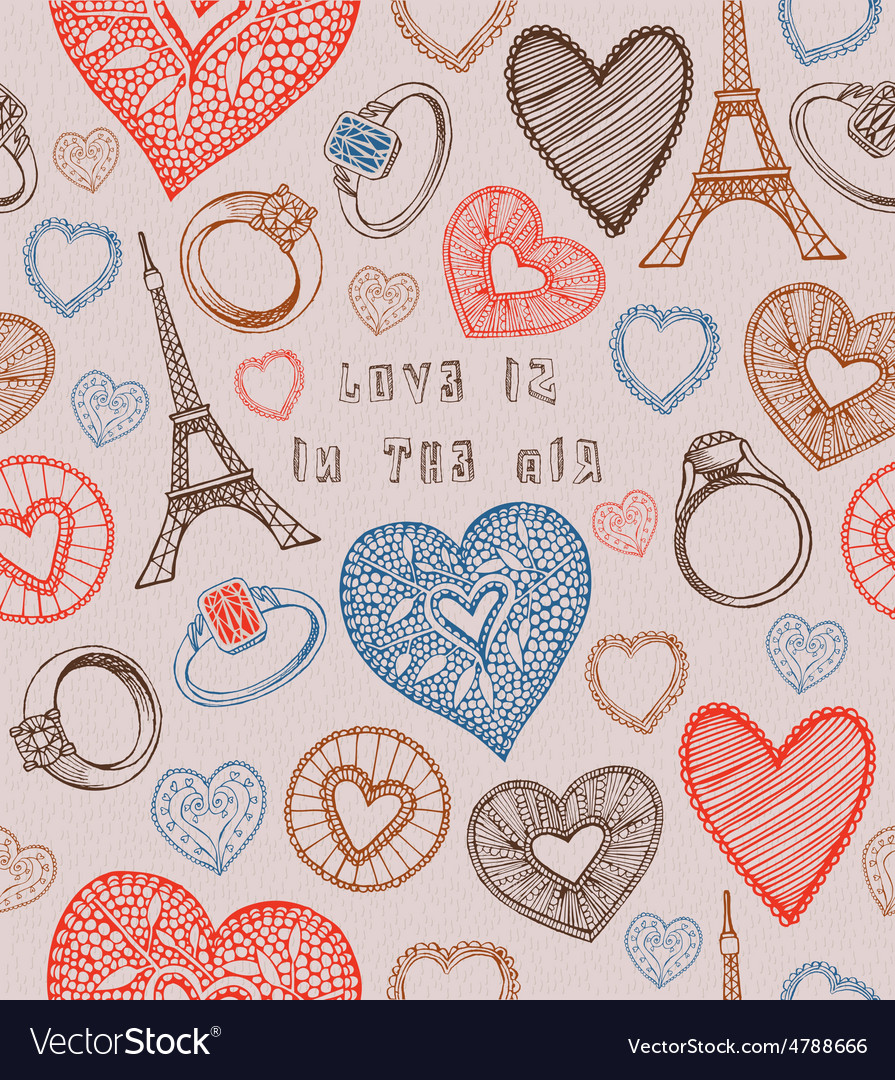 Seamless hearts pattern valentines day card vector | Price: 1 Credit (USD $1)