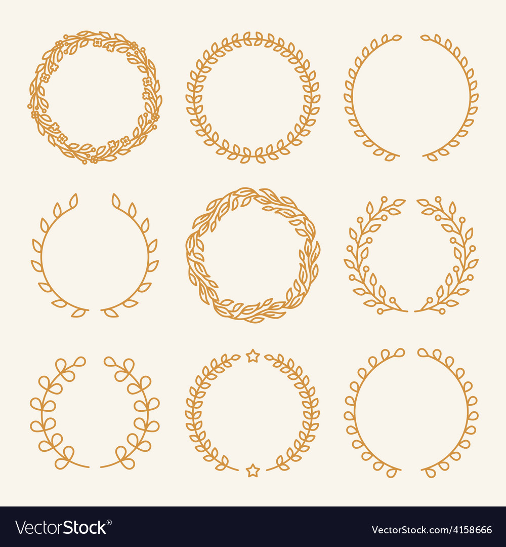 Set of linear wreaths vector | Price: 1 Credit (USD $1)