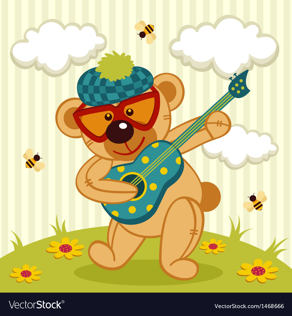 Teddy bear play on a guitar vector | Price: 3 Credit (USD $3)