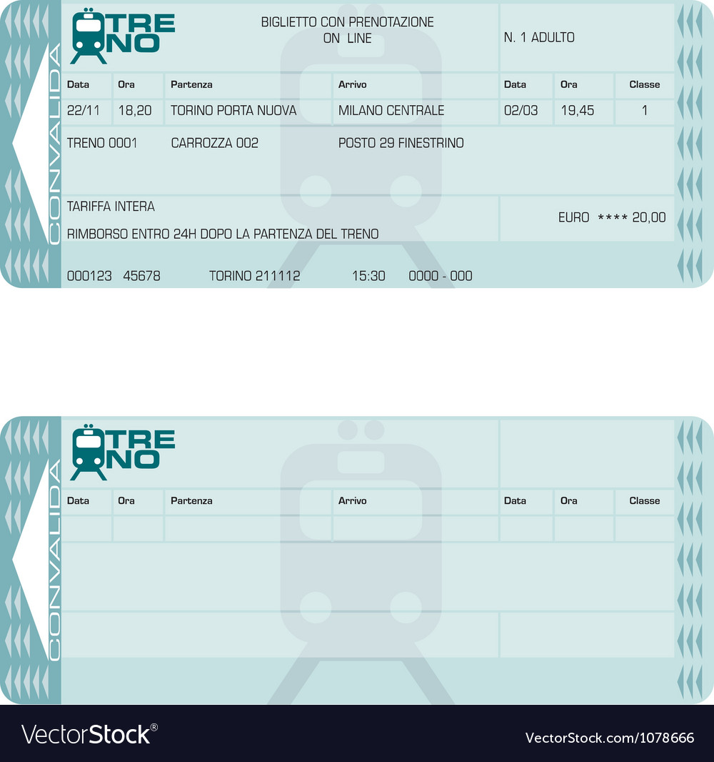 Train ticket vector | Price: 1 Credit (USD $1)