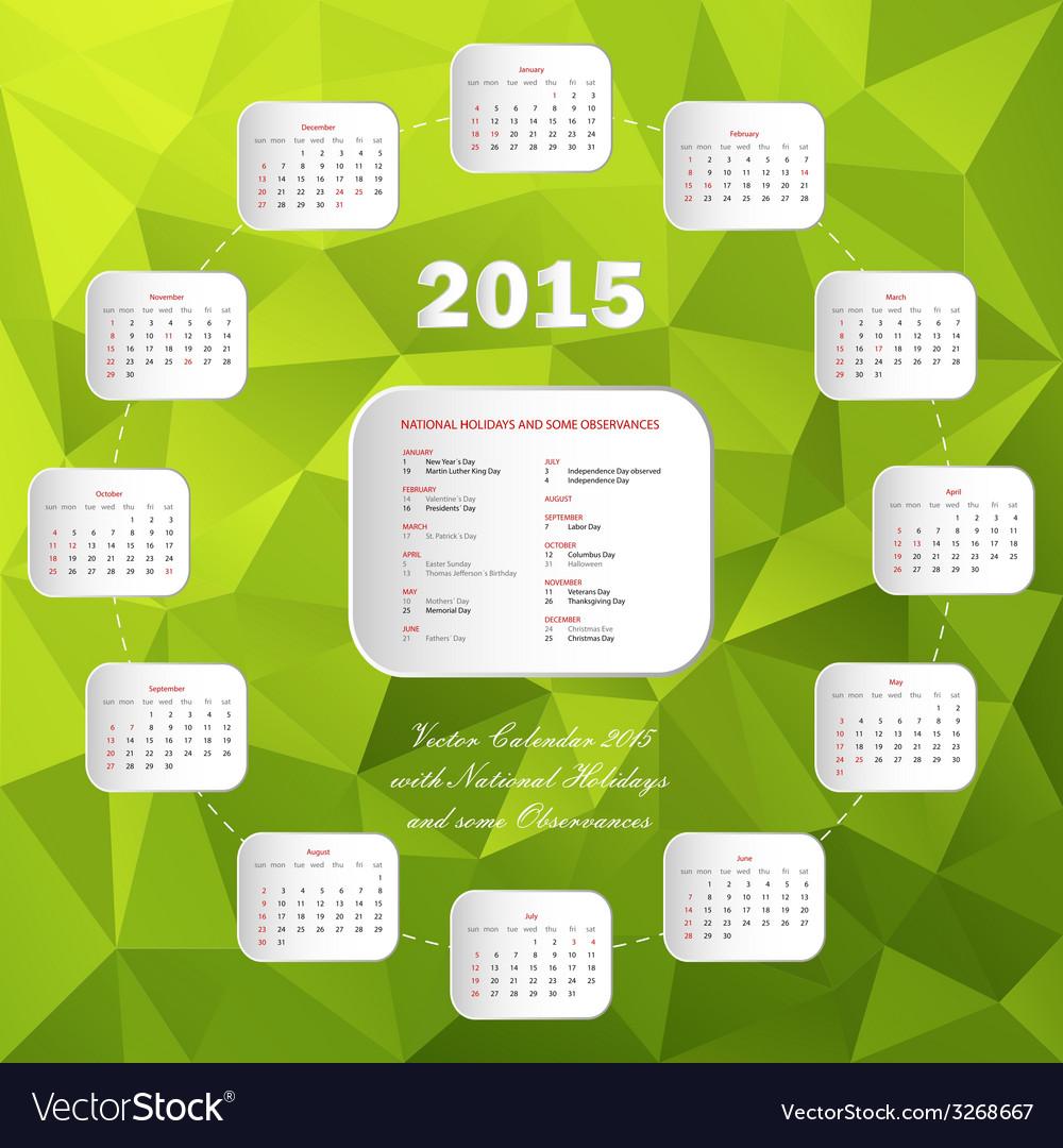 Calendar usa holidays circle green vector | Price: 1 Credit (USD $1)