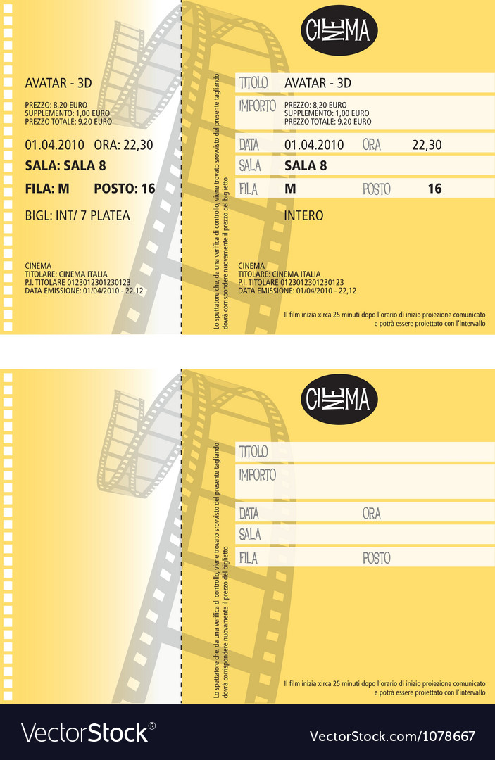 Cinema ticket vector | Price: 1 Credit (USD $1)