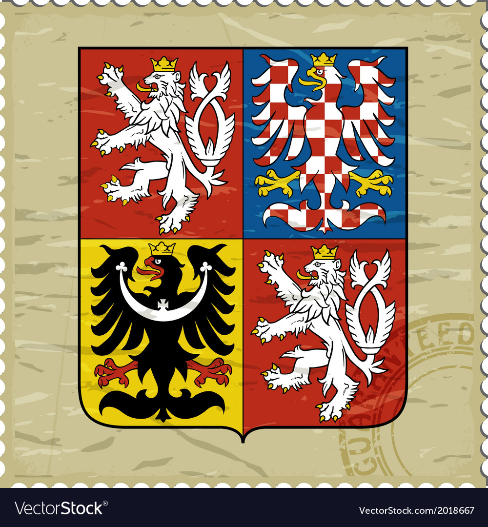 Coat of arms of czech republic on postage stamp vector   Price: 1 Credit (USD $1)