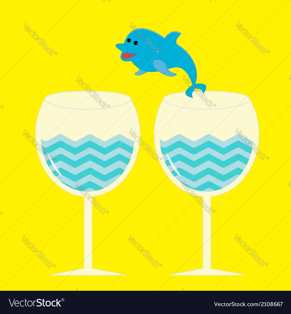 Cocktail drink glasses and jumping dolphin vector | Price: 1 Credit (USD $1)