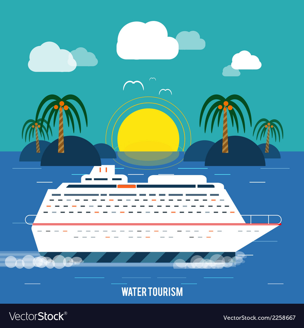 Cruise ship and clear blue water water tourism vector | Price: 1 Credit (USD $1)