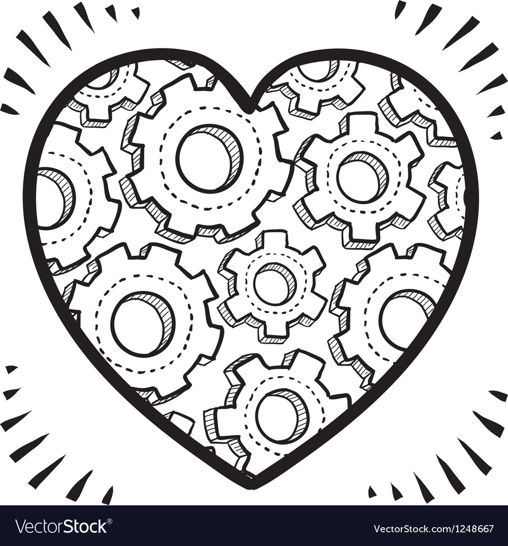 Gears and heart vector | Price: 1 Credit (USD $1)