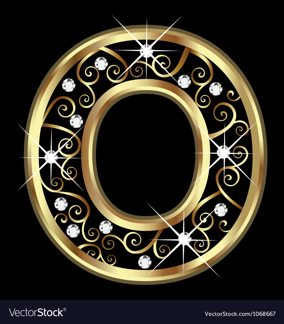 O gold letter with swirly ornaments vector | Price: 1 Credit (USD $1)