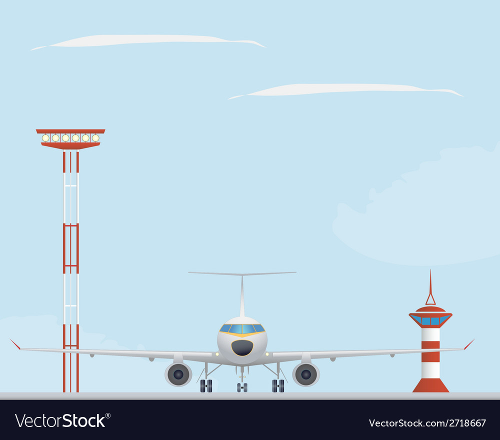 Plane light tower and control tower vector | Price: 1 Credit (USD $1)