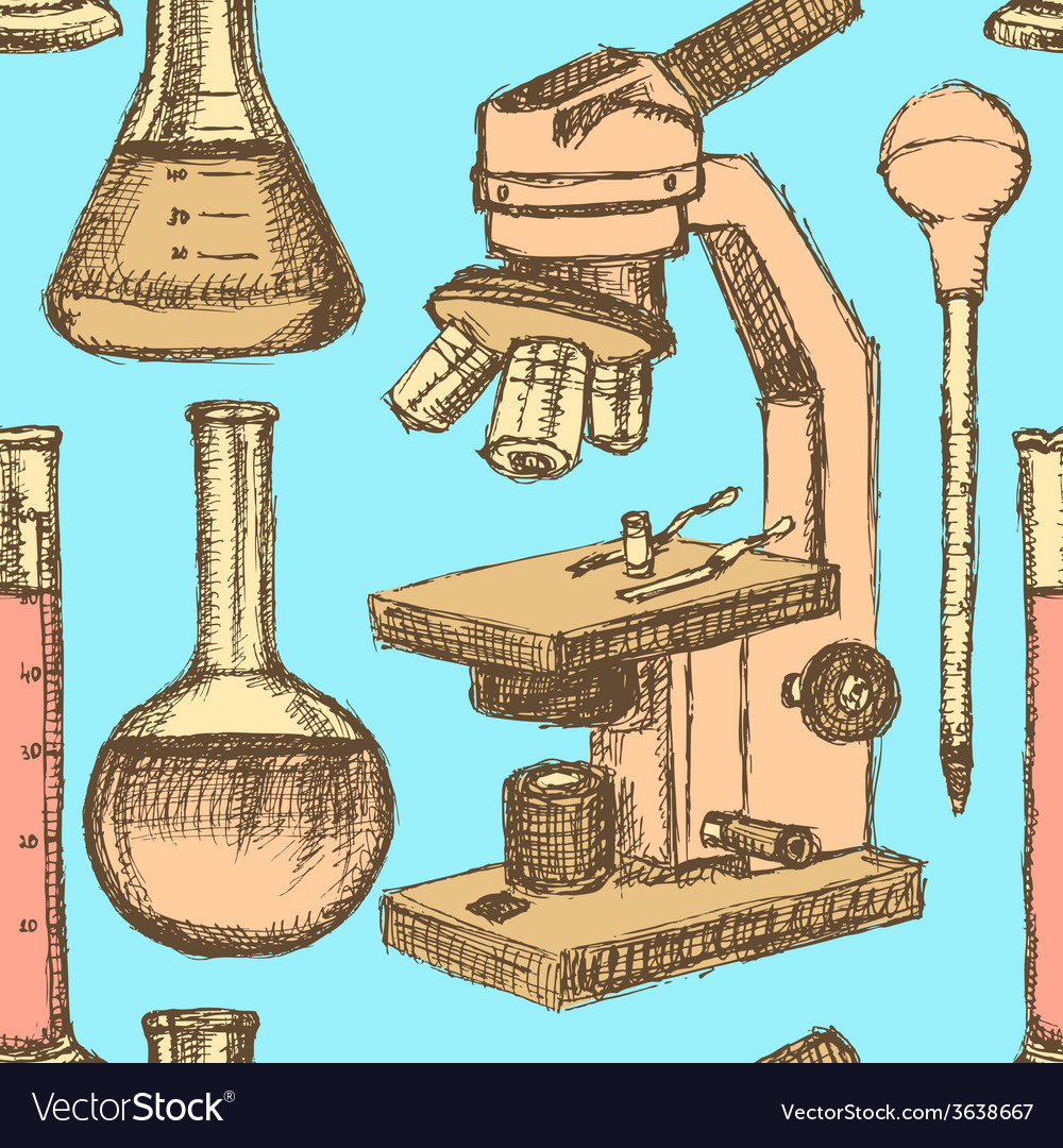Sketch scientific equpment in vintage style vector | Price: 1 Credit (USD $1)