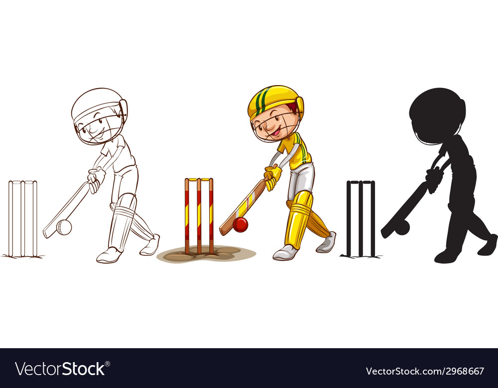 Sketches of a boy playing cricket in different vector | Price: 1 Credit (USD $1)