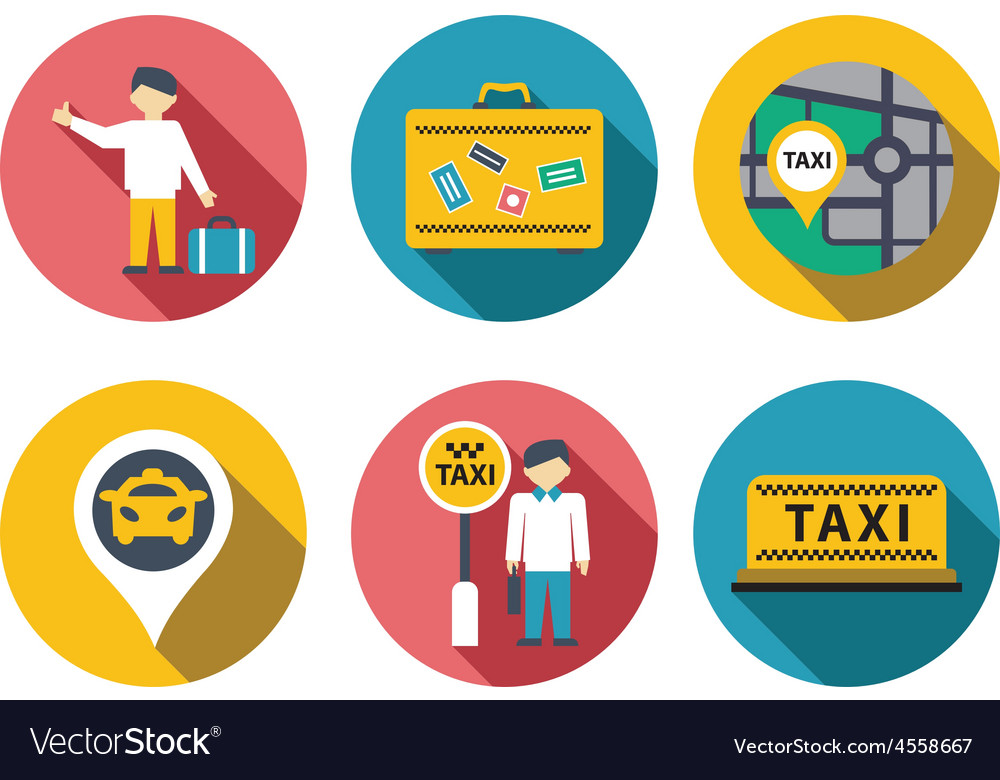 Taxi service set vector | Price: 1 Credit (USD $1)