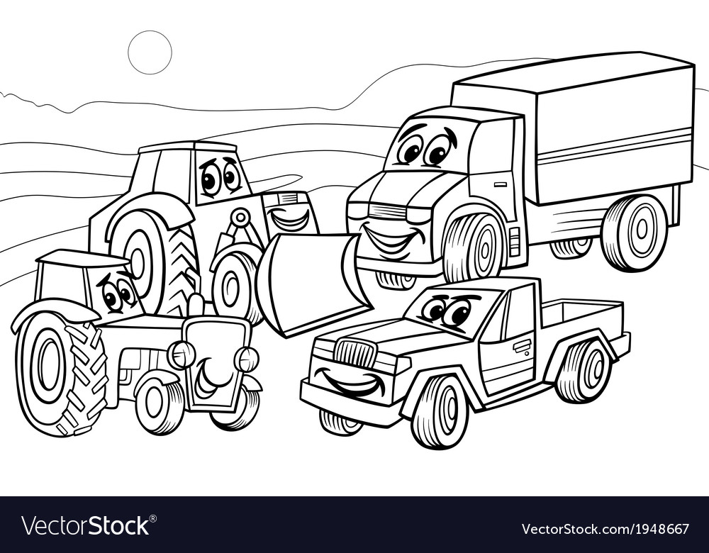 Vehicles machines cartoon coloring page vector | Price: 1 Credit (USD $1)