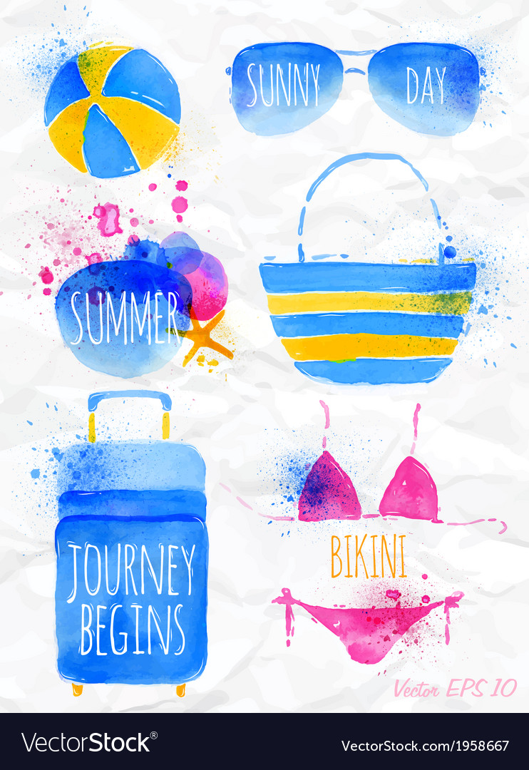Watercolor summer vector | Price: 1 Credit (USD $1)