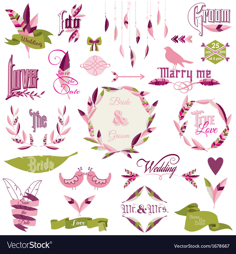 Wedding design elements vector | Price: 1 Credit (USD $1)