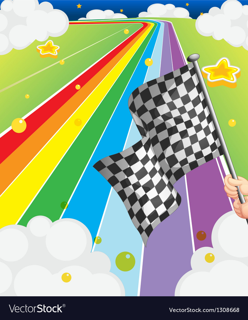 A colorful road with a flag vector | Price: 1 Credit (USD $1)