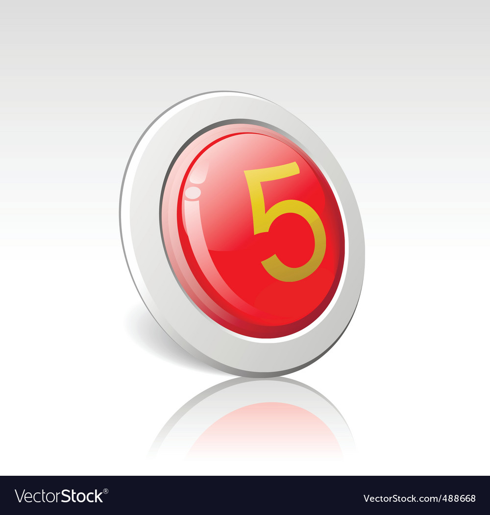 Button with the number 5 vector | Price: 1 Credit (USD $1)