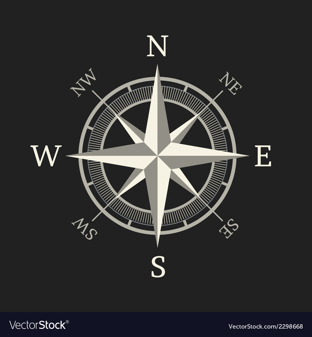 Compass icon isolated on dark background vector | Price: 1 Credit (USD $1)