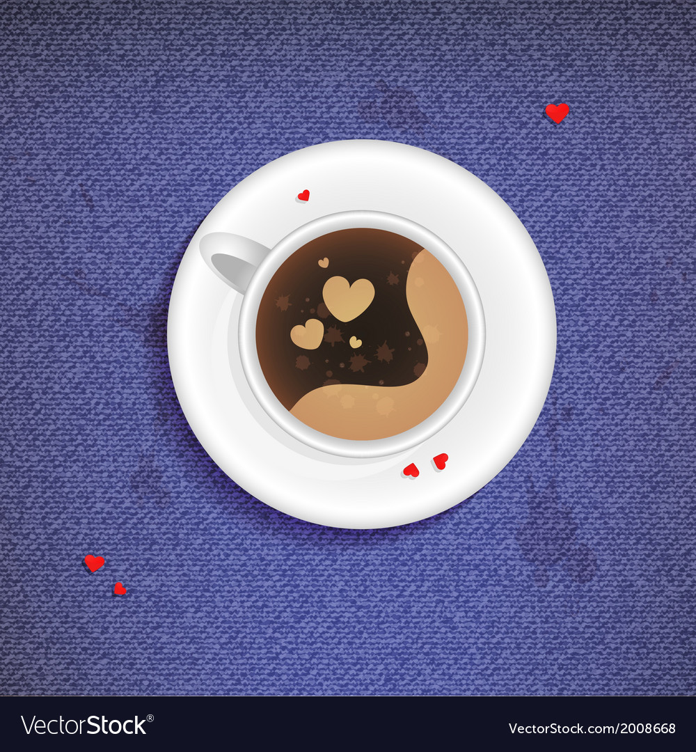 Cup of coffee on a jeans background vector | Price: 1 Credit (USD $1)