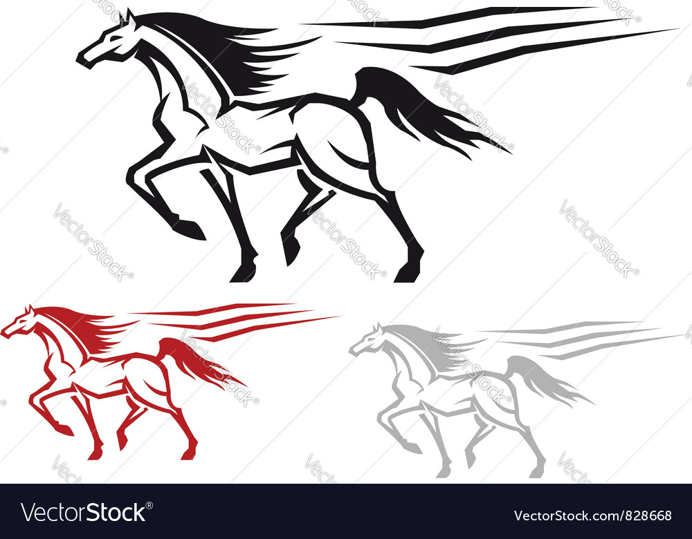 Racing arabian stallion vector | Price: 1 Credit (USD $1)