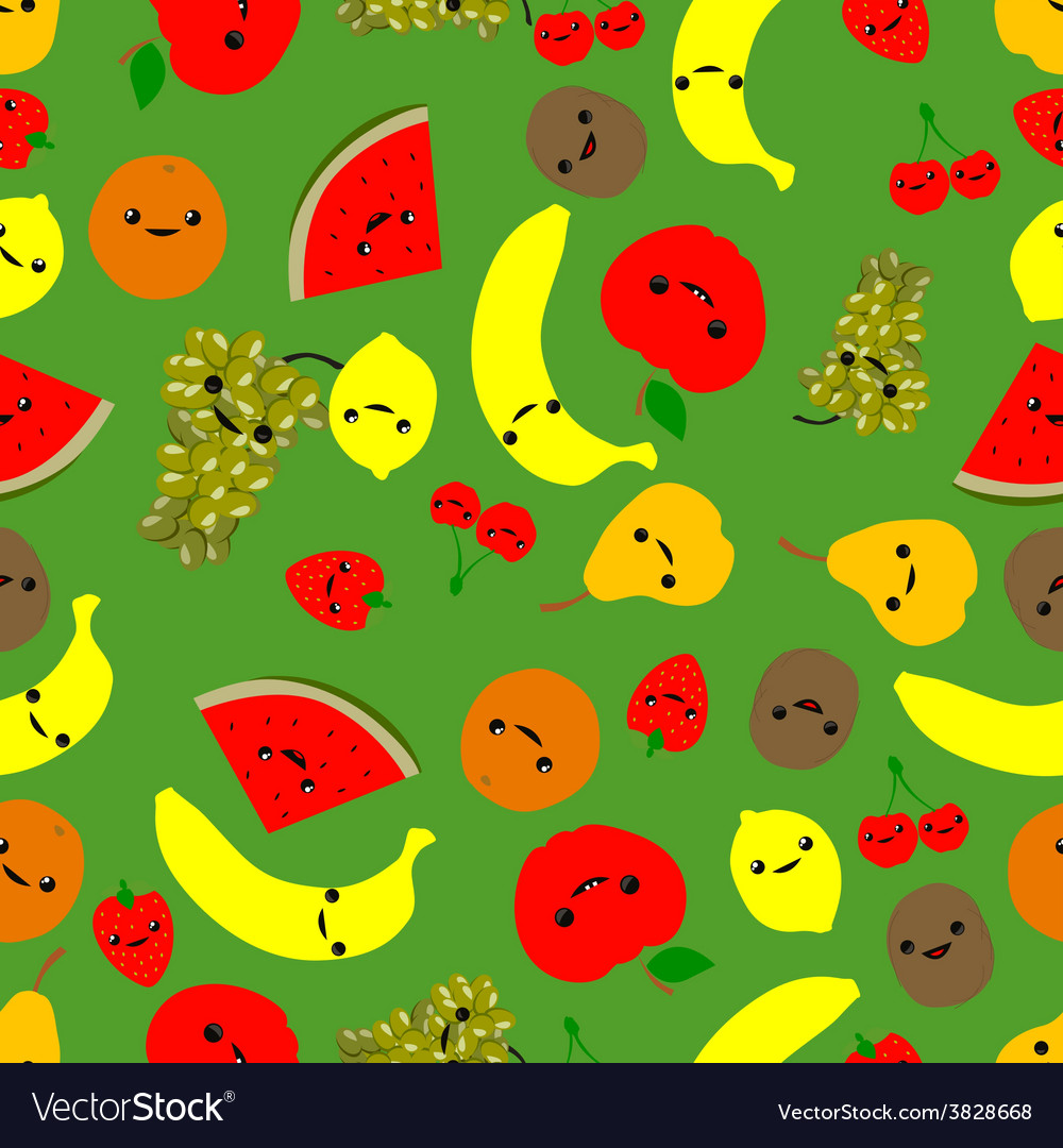 Seamless fruit pattern vector | Price: 1 Credit (USD $1)