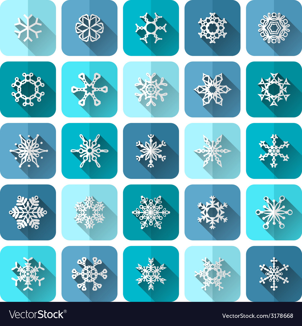 Set of square snowflake icons with long flat vector | Price: 1 Credit (USD $1)