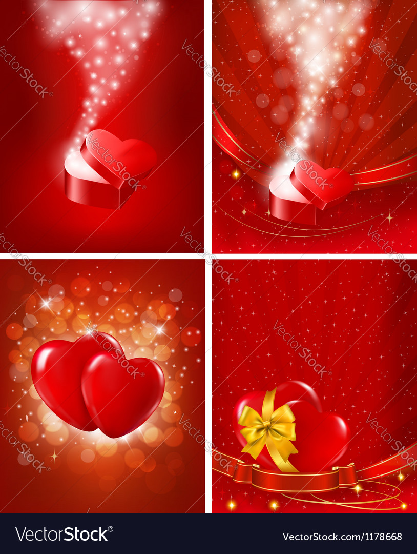 Set of valentines day backgrounds vector | Price: 1 Credit (USD $1)