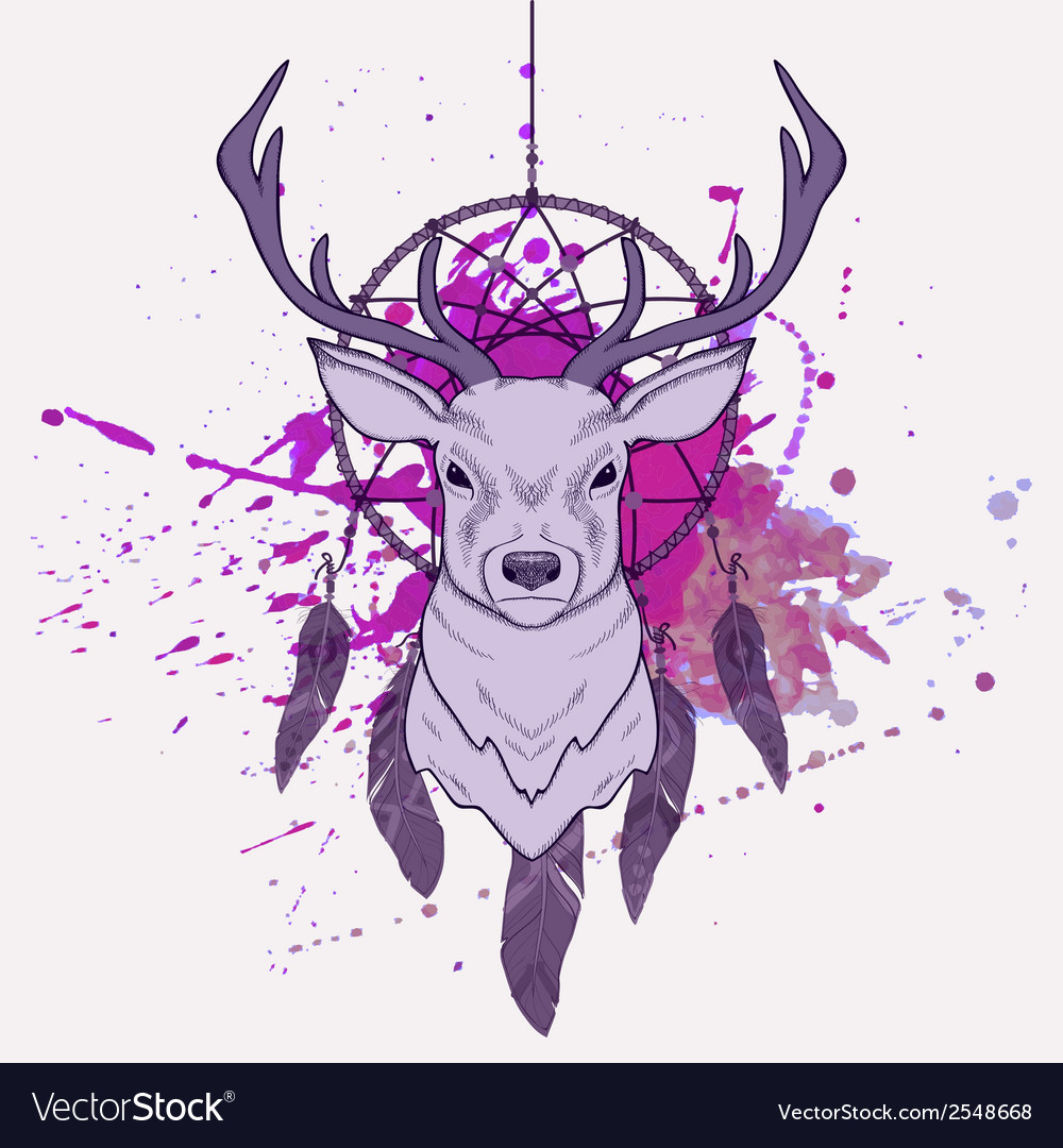 With deer dream catcher and watercolor spla vector | Price: 1 Credit (USD $1)