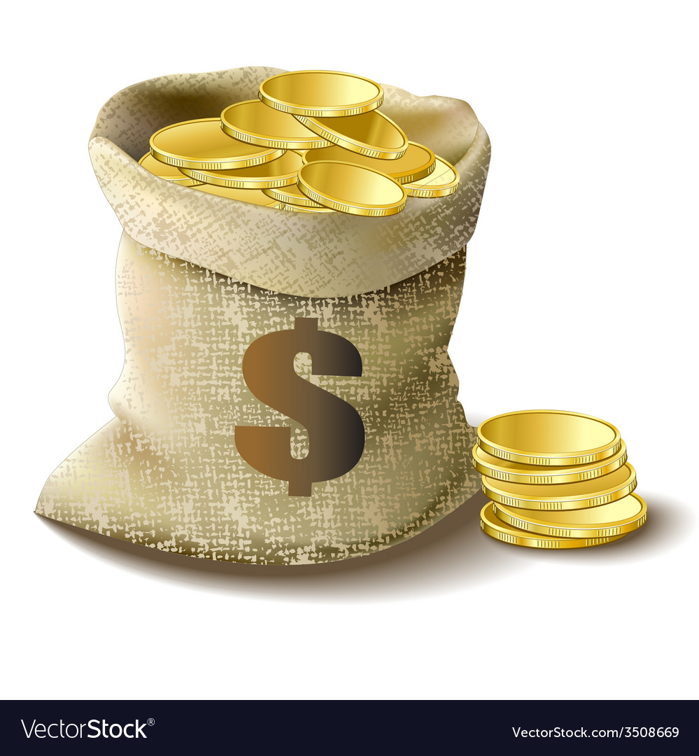 Bag with gold dollar vector | Price: 1 Credit (USD $1)