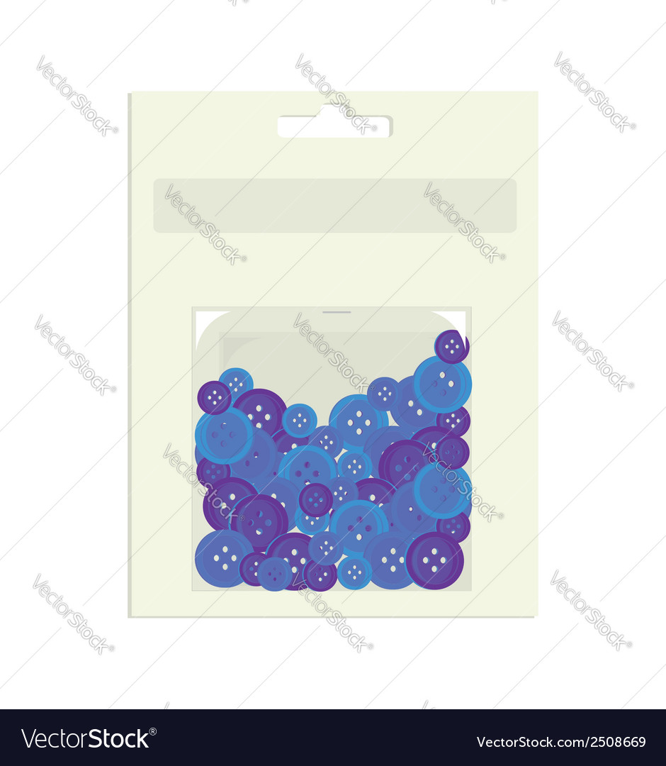 Blue buttons in packaging container vector   Price: 1 Credit (USD $1)