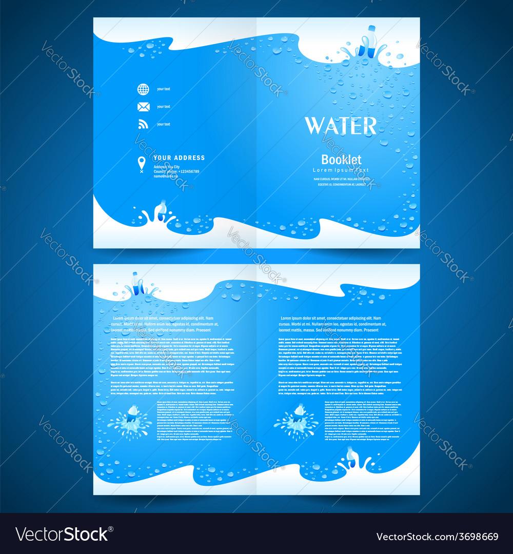 Booklet catalog brochure folder water aqua splash vector | Price: 1 Credit (USD $1)