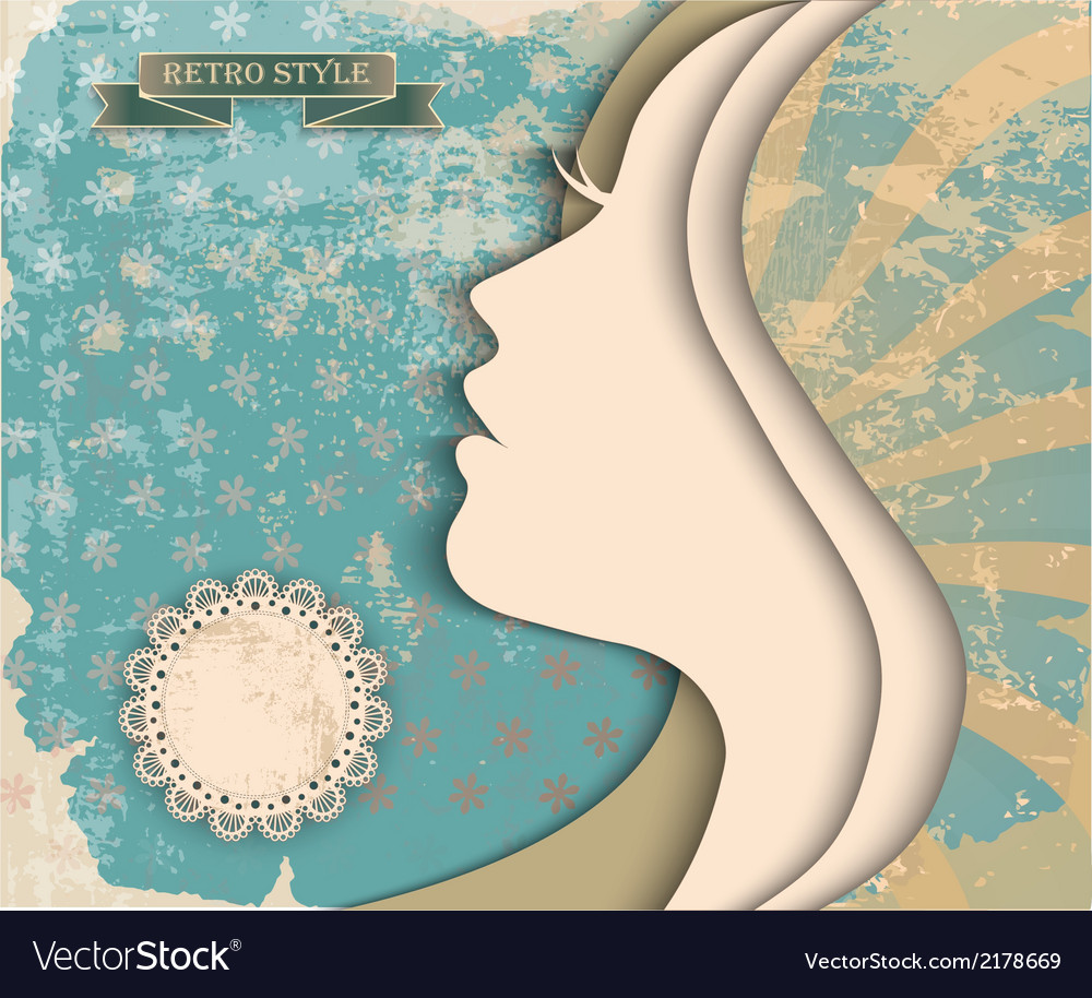 Girl silhouette on vintage background vector | Price: 1 Credit (USD $1)