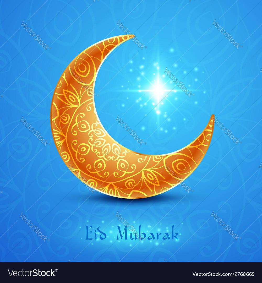 Golden moon for muslim community festival eid vector | Price: 1 Credit (USD $1)
