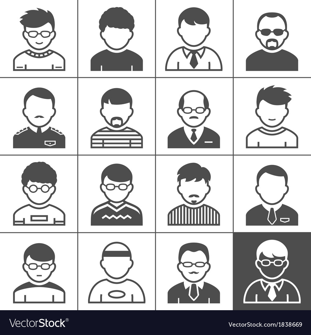 Men users icons vector | Price: 1 Credit (USD $1)