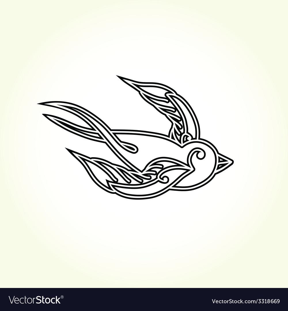 Old school swallow bird tattoo vector | Price: 1 Credit (USD $1)