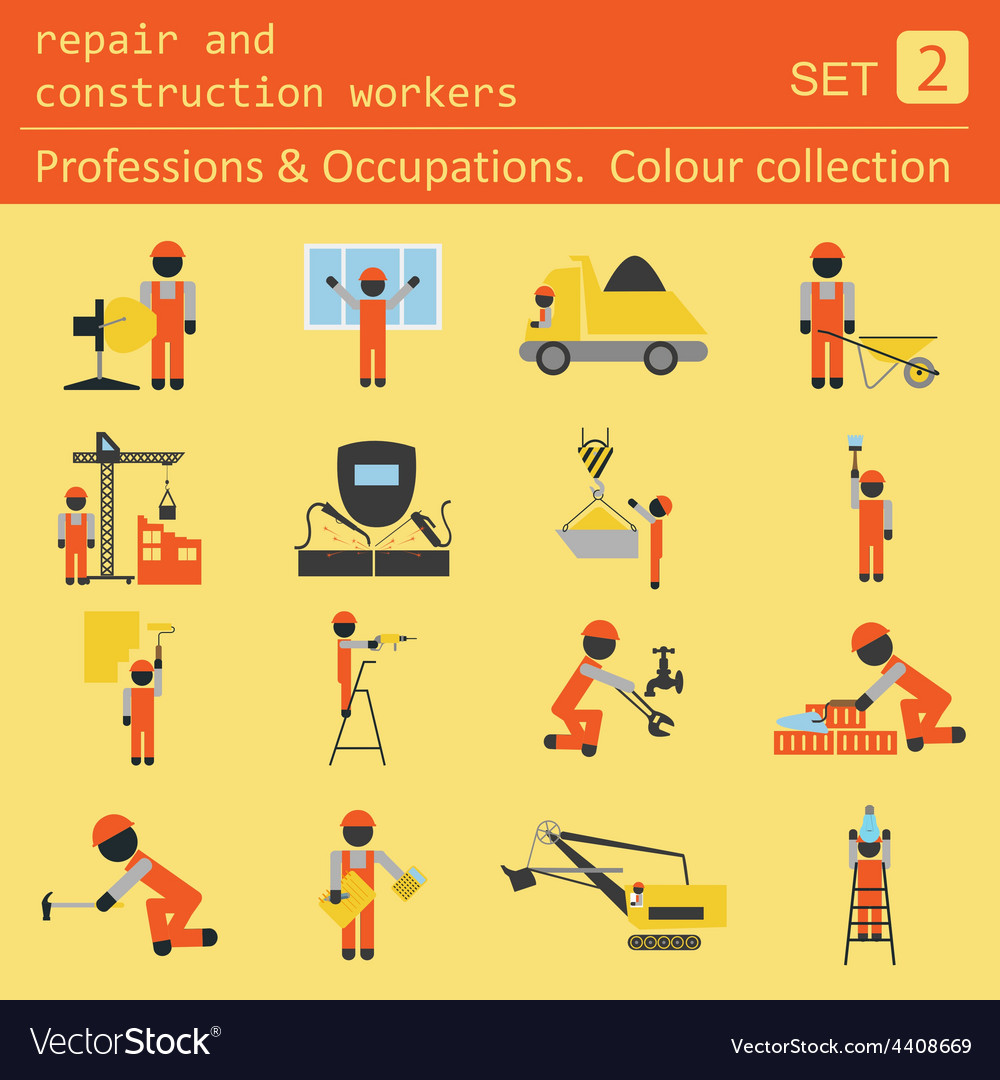 Professions and occupations coloured icon set vector | Price: 1 Credit (USD $1)