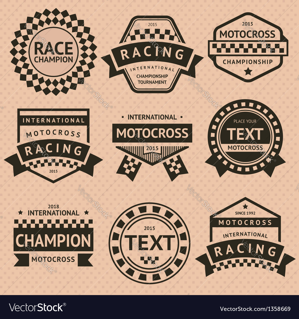 Racing insignia set vintage style vector | Price: 1 Credit (USD $1)