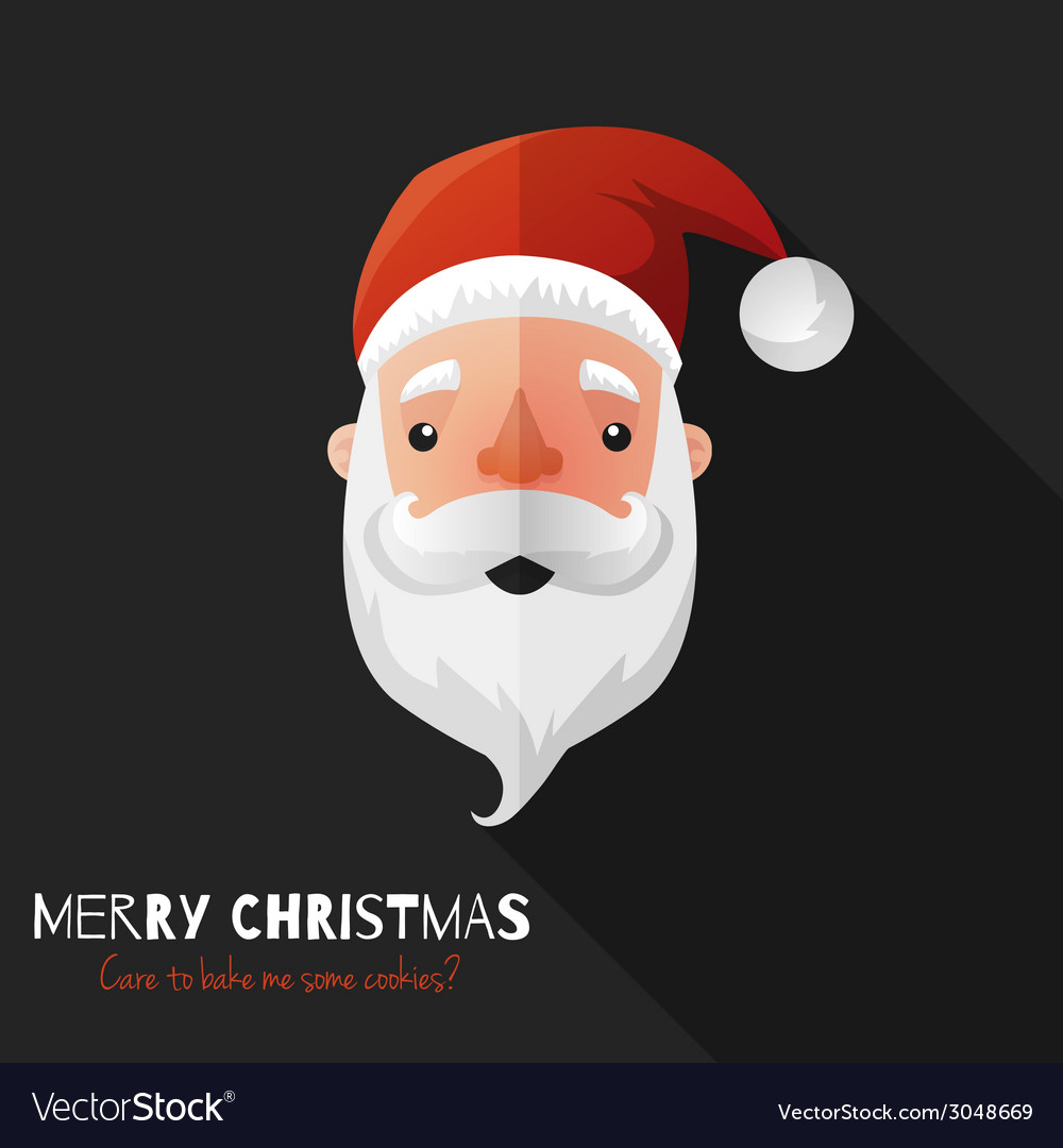 Santa claus face with flat design vector | Price: 1 Credit (USD $1)
