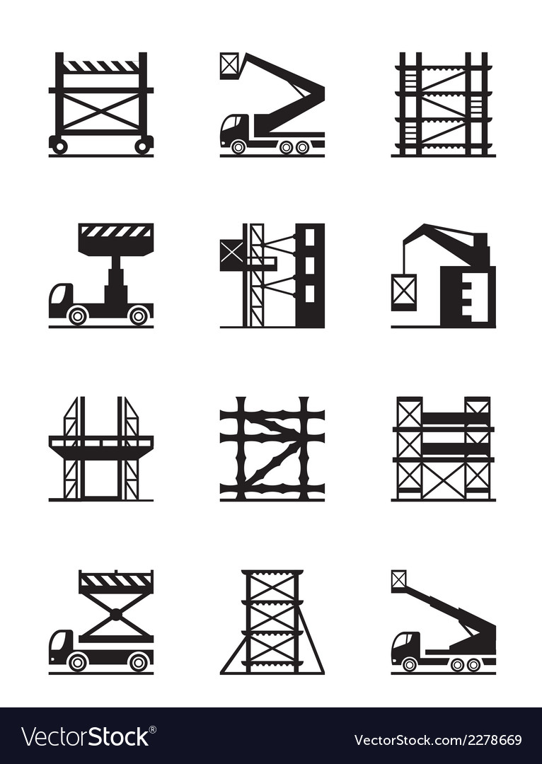 Scaffolding and construction cranes icon set vector | Price: 1 Credit (USD $1)