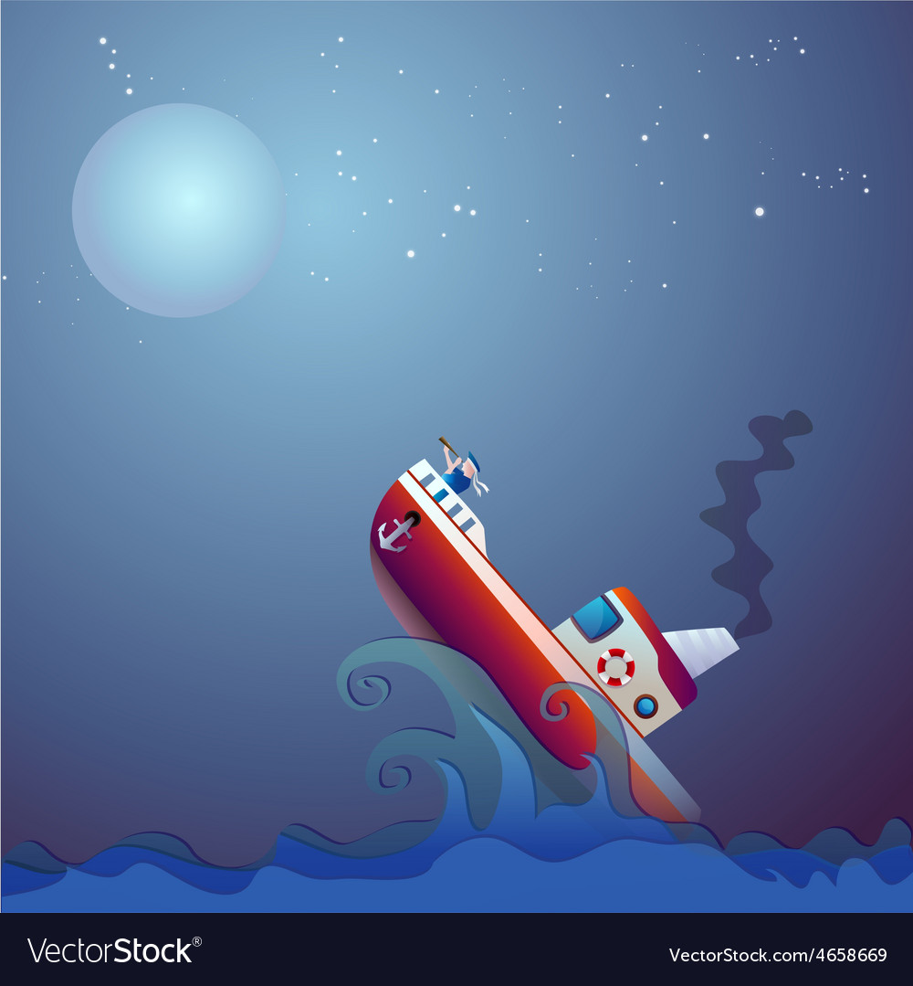 Steamship the storm ocean vector | Price: 3 Credit (USD $3)
