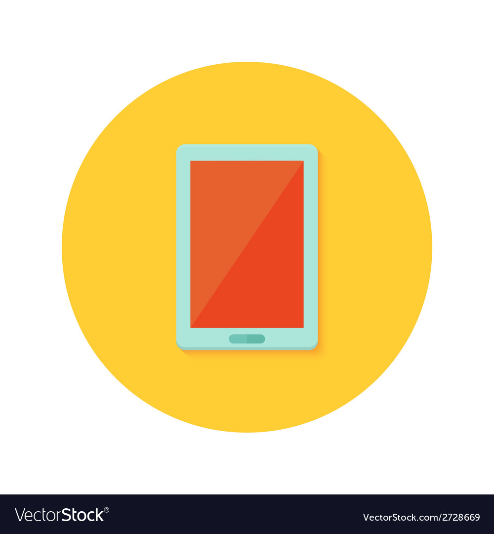 Tablet icon over orange vector | Price: 1 Credit (USD $1)