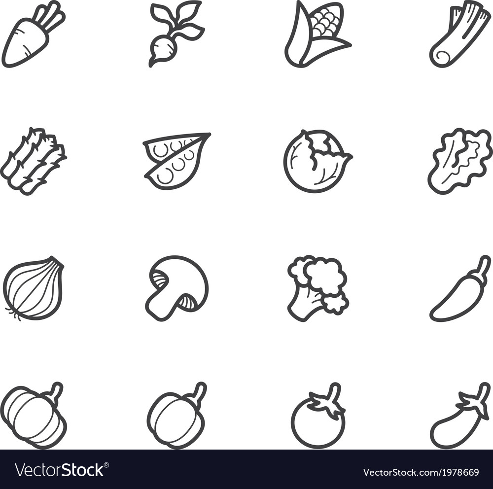 Vegetable icon set on white background vector | Price: 1 Credit (USD $1)